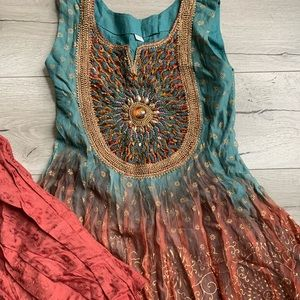 Blue and Maroon Indian Chudiar outfit/ pant suit